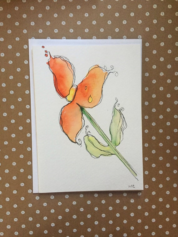 Watercolor Flower Card, Orange Watercolor and Ink Flower Card, Hand Painted Card, Watercolor Flower Card