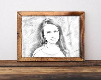 Pencil sketch portrait drawing of person - pencil drawing of your photo, sketch, hand drawn look, custom portrait sketch, art,
