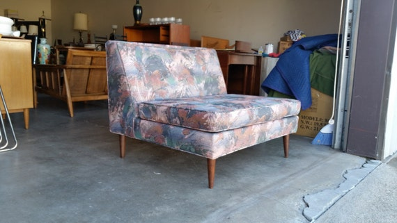 Vintage 1960's Low Profile Loveseat Mid Century Modern Solid Walnut Legs Loose Seat Cushion Excellent Condition MCM