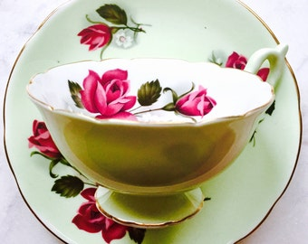 EB Foley Pink Roses Mint Green Tea Cup and Saucer