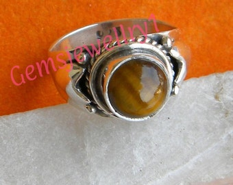 Tiger eye ring, 925 sterling silver Ring, Gemstone Ring, Tiger eye Stone Ring, Size 5 6 7 8 9 10 11 12 13 14 -0115100154