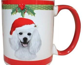 White Poodle Christmas Mug