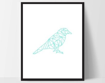 Teal Geometric Bird, Printable Wall Art, Wall Print, Boho Art, Wall Prints, Bird Prints, Printable Art, Printable, Sitting Bird, Bird Art