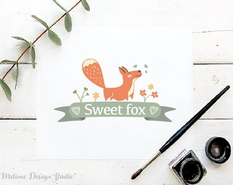 Fox Logo Design, Baby Boutique Logo design, Kids Pre-Made Logo, Sweet Fox Logo design (27-LOGO)