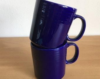 Lovely pair of dark ocean blue ceramic coffee / tea / hot cocoa mugs circa 1990s ribbed design near rim for Old Florida beach cottage!