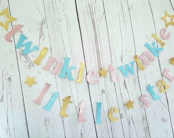 Gender reveal banners Twinkle Twinkle Little Star Garland/Baby Shower garland/Gender reveal sign/Twinkle twinkle little star banner/