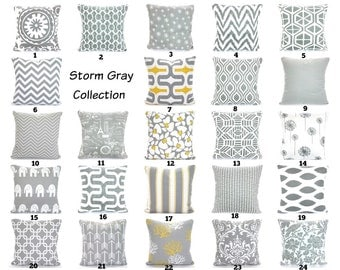Gray Throw Pillow Covers, Grey White Cushions, Decorative Throw Pillows, Chevron Nursery Decor, Geometric One or More Mix & Match All Sizes