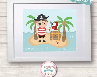 Pirate treasure island, Childrens / Art Nursery Print,  Wall Decor,  Wall Art. Can be personalized with name.