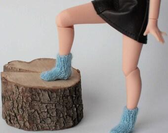 Blythe socks, Hand knitted socks for 12 inch doll, Licca socks, Blue socks, Pink socks, Red socks, Light blue socks, Dark yellow socks