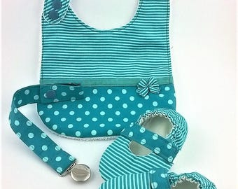 Baby set mint green- Bib- Pacifier clip- Mary Janes- MInt green striped shoes-Anti grip sole-Soft sole shoes- First walker shoes-