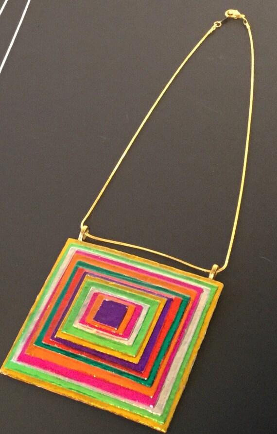 Multicolor Square Pendant Necklace