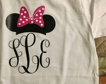 Disney Inspired Mickey/Minnie Mouse Ears Monogram Shirt