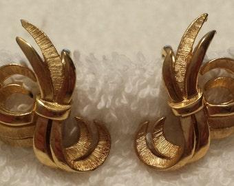 Trifari Crown Symbol clip on earrings