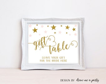 Pink and Gold Bridal Shower Decorations , Gift Table Bridal Shower Sign , Pink and Gold Stars , Bridal Shower Table Decorations , Printable