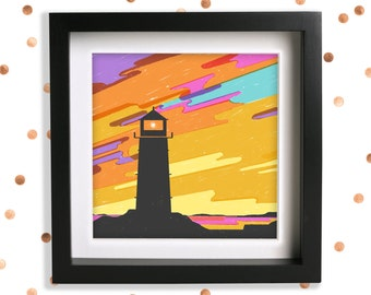 Lighthouse Illustration Art Print / Sunset Illustration / Landscape Illustration / Silhouette Art / Dusk Sky Art / Yellow Wall Art