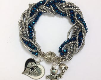Dallas Cowboys Braided Charm Bracelet