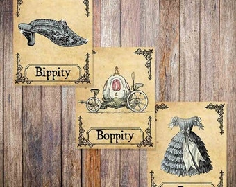 Cinderella Vintage Style Print - Bippity Boppity Boo - Disney Print - Set of three - Multiple sizes (in inches) 8x10 and 5x7