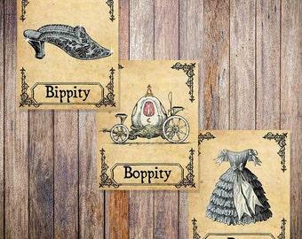 Cinderella Vintage Style Print - Bippity Boppity Boo - Disney Print - Set of 3 - Multiple sizes 5x7, 8x10, 11x14, 16x20, 18x24, 20x24, 24x36