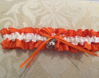 Halloween orange pumpkin wedding garter