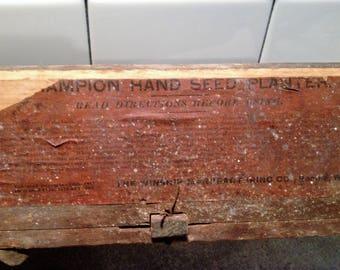 Antique Champion Corn Seed Planter, Farming Tool, Primitive Farm, Rustic Decor, Garden Seeder