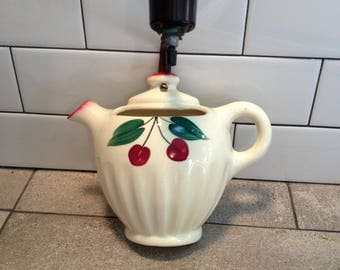Vintage Wall Pocket Lamp, Red Cherries, Light Fixture, Ceramic Teapot,Sconce, Kitchen Wall Decor