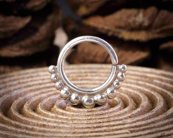 Ethnic Tribal Silver Septum Ring, Silver Nose Hoop, Sterling Silver Real Septum Jewelry Nose Piercing