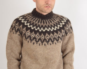 Vintage Wool Jumper Hand knitted in Iceland (1696)