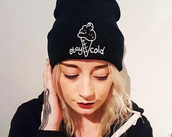 Stay Cold knitted beanie - embroidered beanie - black beanie - embroidered hat