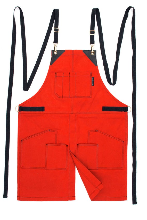 Cargo apron orange waxed canvas black leather split