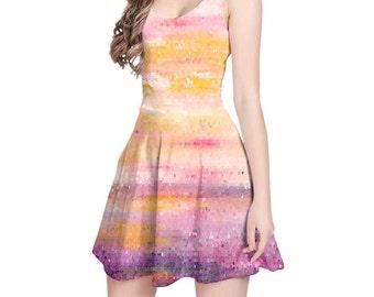 Pink, Purple Yellow Dress, Mosaic Dress, Art Dress, Abstract Dress, Wearable Art Clothing, Fitted Dress, Fit and Flare Dress, Summer Dress