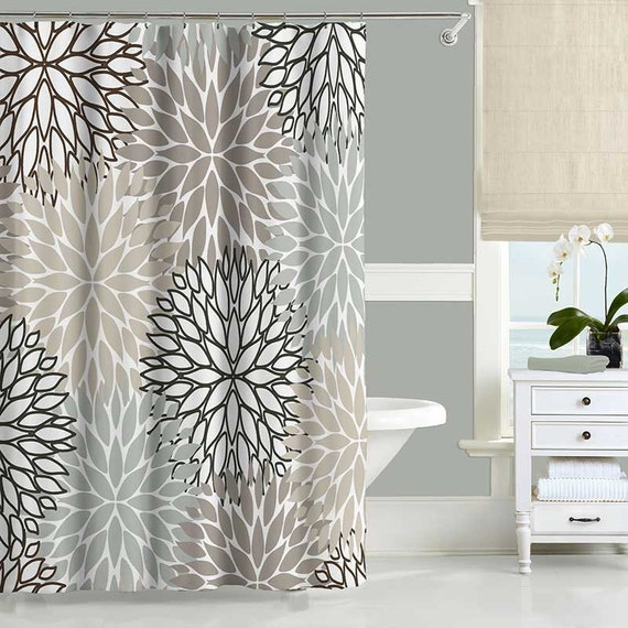 floral shower curtain neutral gray beige white dahlia shower. Black Bedroom Furniture Sets. Home Design Ideas