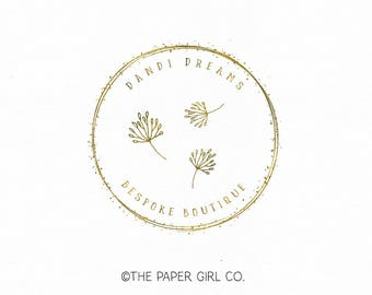 dandelion logo premade logo photography logo event planner logo wedding logo boutique logo jewelry design logo etsy shop logo watermark