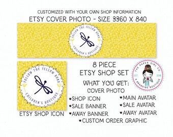 etsy shop set dragonfly shop set premade shop set spring shop set etsy shop branding boutique shop set branding for etsy shop icon