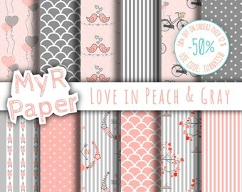 "Valentines Digital Paper: ""Love in Peach & Gray"" for scrapbooking, invite, card – perfect for Valentine's day and Shabby Chic projects"