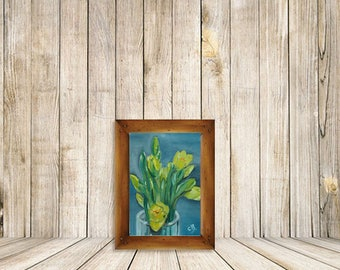 Floral Original daily Oil painting of Daffodil for Home and living Wall Room Art  Framed painting art gift
