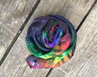 Rainbow Playsilk, Tie Dye Playsilk, Playsilk, Waldorf Toy, Natural Toy, Large Playsilk, Silk Scarf, Square Scarf, thecatbirdskitten