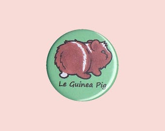 Cute Guinea Pig Badge 'Le Guinea Pig' (CHOCOLATE) - guinea pig button, cavy button, guinea pig accessory, kawaii badges