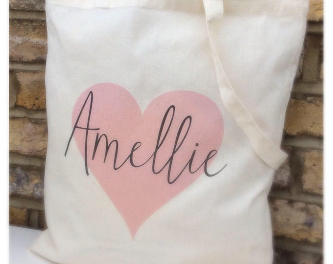 Personalised Star or heart Shopper Tote Bag, available in any colour, cotton tote bag. Children's gift. Wedding gift bag's.