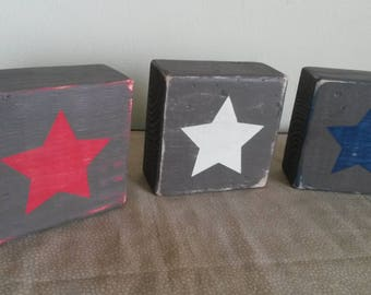 Rustic Americana Decor Distressed Summer Decor Patriotic Sign Stars