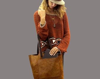 Sale!!! Leather shopper bag Medium Large Shopper Tote bag Brown Leather handbag External pocket tote Distressed Soft tote purse ligtweight