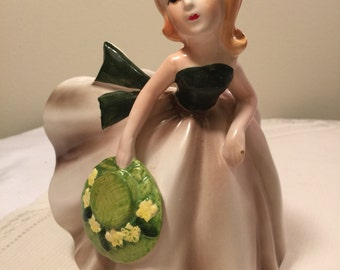 Vintage Relpo 5878 girl with ruffled dress planter - girl holding hat - relpo lady planter vase - mid century Relpo vase