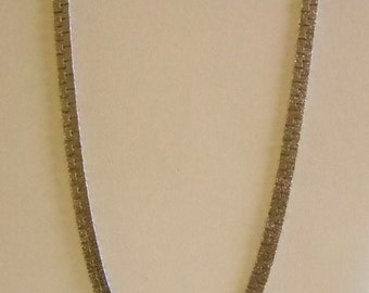Long Silver Tone Textured Chain Necklace