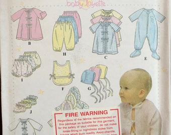 Simplicity Sewing Pattern 9380 Baby Layette Sizes Nb, S, M, L