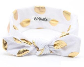 Polkadot Headband-White & Gold