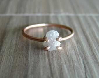 Raw Diamond Ring for Women, Diamond & Gold Fill Engagement Ring, Proposal Ring, Wedding Band Ring Set, April Birthstone Jewelry, Size 6