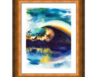 Hand Painted Surf Art, Tropical Beach Gift, Tiki Hut, Palm Trees, Original Art, Sunset,  Surfing, Hawaii, Surfer, Surfboard, Hawaiian Decor