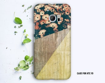 Geometric Wood texture with Flowers case for HTC 10 HTC One M9 HTC One M8