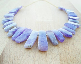 Statement Amethyst Necklace- Raw Amethyst Necklace- Amethyst Jewellery- Crystal Necklace- Purple Gemstone Necklace- Purple Gemstone Jewelry