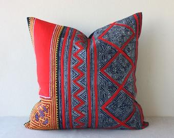 "20"" x 20"" Vintage Ethnic Hmong Hill Tribe Hand Woven Indigo Batik Hemp, Cross Stitch Pillowcase /17.24"