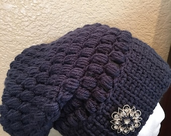 Navy blue Slouchy hat , adult size